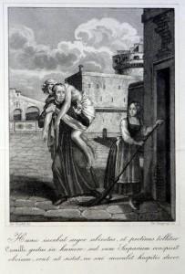 Nicola Sangiorgi, s.Camillo trasporta un malato durante la peste a Roma, bulino, XIX secolo ( AGMI, A 37)