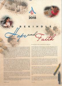 La copertina del Calendario 2018 della delegazione Camilliana in Vietnam.